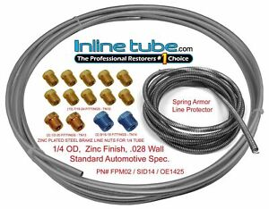 Brake Line Kit 25 Ft Of 1 4 Roll With 14 Fittings And 8 Ft Of Spring Guard