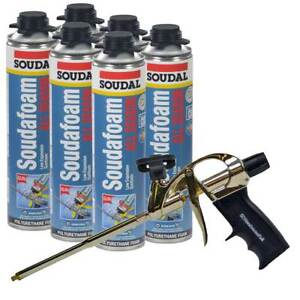 Soudal Kit 6 24 Oz Cans All Season Window Door Foam Pro Foam Gun