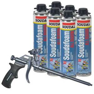 Soudal Kit 6 24 Oz Cans All Season Window Door Foam Teflon Coated Foam Gun