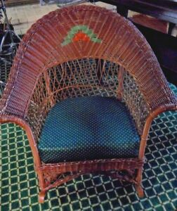 Antique Arts Crafts Wicker Rocking Chair Art Deco Vintage Adult