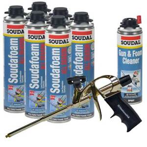 Soudal Kit 6 24 Oz Cans All Season Window Door Foam 1 Cleaner Pro Foam Gun