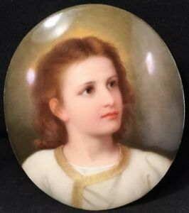 Authentic Kpm Hand Painted Porcelain Plaque Young Jesus