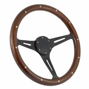 Mustang Steering Wheel Mahogany And Black Split Spoke With Horn Button