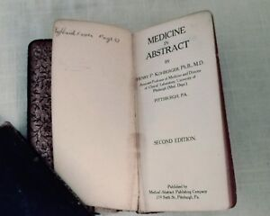 Rare Antique Medical Pocket Book Medicine In Abstract 1911 Kohberger 2nd Edition