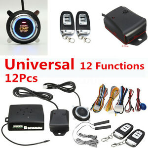 12pcs 13 Functions Car Alarm Start Security System Key Keyless Entry Push Button