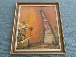 Vintage Mid Century Mod Antique Signed Jade Oil Canvas Volcano Painting