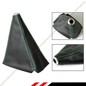 Universal Black Pvc Leather Manual Shift Shifter Boot Cover With Green Stitching