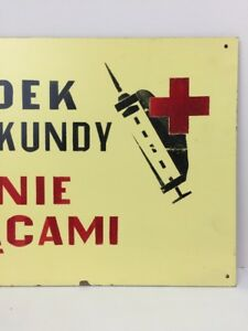 Vintage Warning Sign Accident Made In Poland Industrial Signage