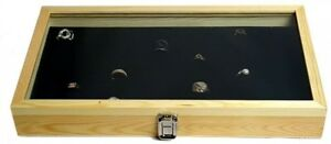 Natural Wood Case W Tempered Glass Top Lid 72 Slot Ring Foam Jewelry Box Storage