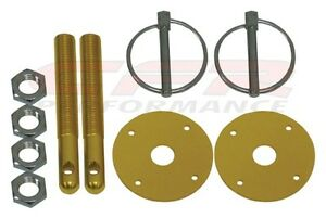 Gold Hood Pin Kit Flip Over Style Universal For Chevy Ford Mopar Free Shipping