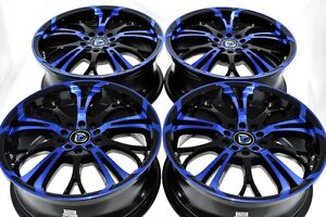 4 New Ddr R25 17x7 5x100 114 3 40mm Black Polished Blue 17 Wheels Rims