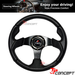 320mm Jdm Racing Sport Steering Wheel Black Pvc Leather Racing Trd Horn Button