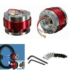 Car 6 Hole Steering Wheel Ball Quick Release Hub Adapter Snap Off Boss Kit Red