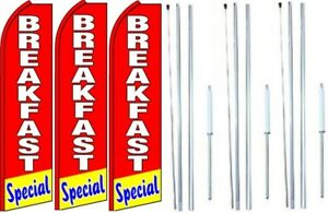 Breakfast Special Swooper Flag With Complete Hybrid Pole Set 3 Pack