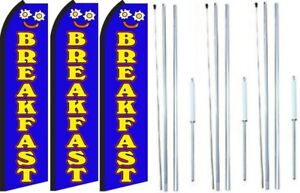 Breakfast Swooper Flag With Complete Hybrid Pole Set 3 Pack