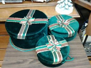 Lot Of 3 Christmas Green Velvet Round Gift Boxes
