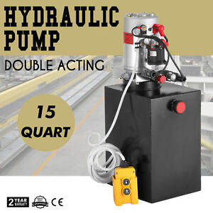 Hydraulic Double Acting Pump 12v Dc 15 Quart Steel Reservoir