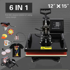 6in1 12 x15 Digital Heat Press Machine Transfer Sublimation Shirt mug hat Plate