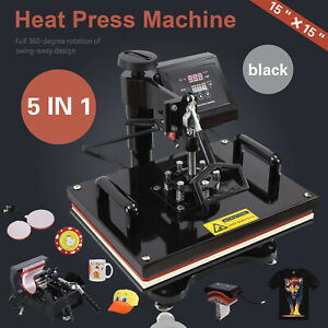 5 In 1 15 x15 Heat Press Machine Teflon Coated Transfer Sublimation Printing