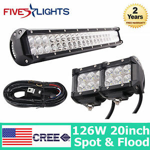 20inch 126w Cree Combo Led Light Bar 2x 18w Spot Cube Pods Free Wiring Offroad
