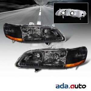 For 1998 1999 2000 2001 2002 Honda Accord Black Headlights Replacement Lamps Set