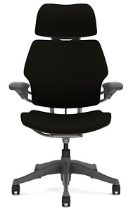 Humanscale Freedom F211 Black Wave Fabric Titanium Frame Office Desk Chair