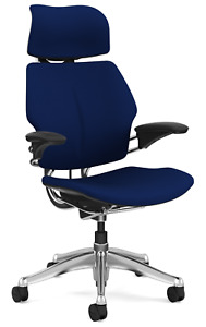 Humanscale Freedom F213 Aluminum Advanced Duron Arms Office Desk Chair Navy Blue