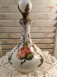 Vintage Leaf And Scroll Milk Glass Decorated Decanter With Glass Stopper