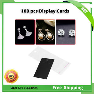100sets Black Jewelry Necklace Earring Display Cards W Self Adhesive Bags Clear