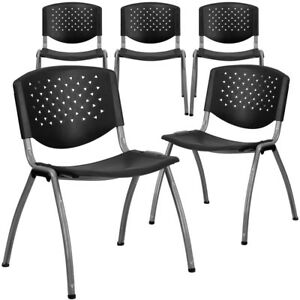 5 Pk Hercules Series 880 Lb Capacity Black Plastic Stack Chair With