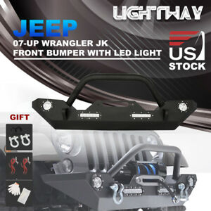 07 17 Jeep Wrangler Jk Front Bumper W Winch Plate D ring Led Light Turn Signal