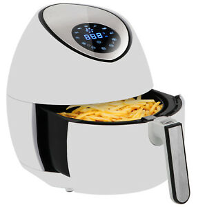 Electric Lcd Air Fryer 3 5l 3 7qt Touch Screen Removable Basket 1500w White