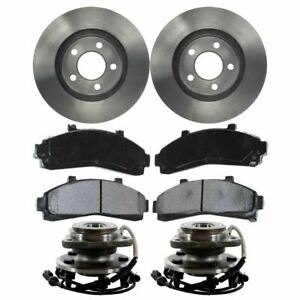 Front 2 Brake Rotors 4 Ceramic Pads 2 Hub Bearing Fits 95 00 Ford Explorer