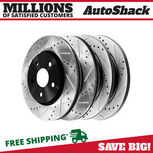 Front Rear Drilled Slotted Brake Rotors For 2005 2009 2010 Jeep Grand Cherokee
