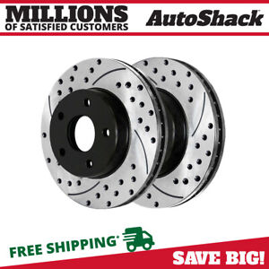 Front Pair 2 Drilled Slotted Brake Rotors 5 Stud Fits 05 2011 2012 Ford Escape