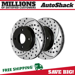 Front Drilled Slotted Brake Rotors Pair 2 For 05 06 07 Chevrolet Cobalt 580633