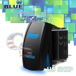 Blue Laser Etched Led Blow Horn 12v 20a 10a 5pin Rocker Toggle Switch Car Boat
