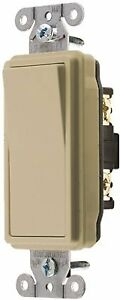 Hubbell Specification Grade Decorator Rocker Switch 20 Amp Double Pole Ivory