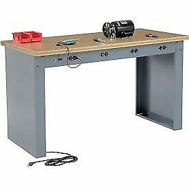 60 w X 30 d Panel Leg Workbench With Power Apron And Shop Top Square Edge Top