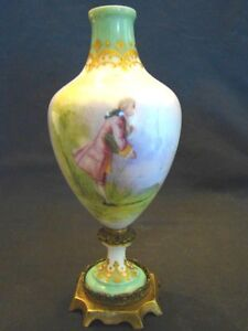 Artist Signed Leduc Old Paris Porcelain Portrait Ormolu Urn Vase 7 1 2 19th C