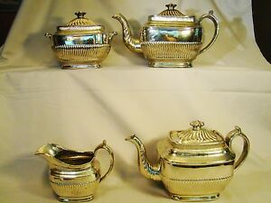 All Over Silver Lustre Tea Coffee Set Early 19th C Neo Classical Shape