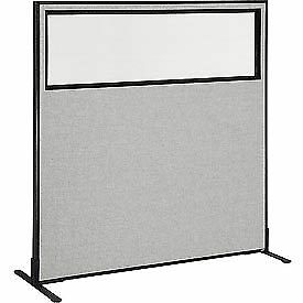 Interion 8482 Freestanding Office Cubicle Panel With Partial Window 60 1 4 w