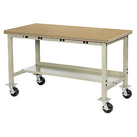 72 w X 36 d Mobile Production Workbench With Power Apron Shop Top Square Edge