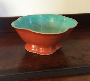 Antique Chinese Porcelain Bowl Iron Red Orange Coral Turquoise Gilt 19th C