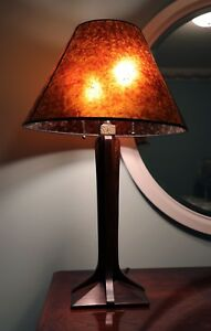 Stickley Arts Crafts Mission Cherry Lamp W Corbel Base Mica Shade