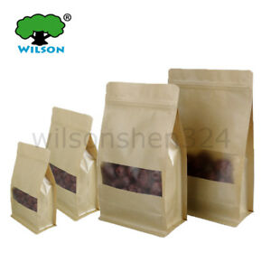 Kraft Side Gusset Flat Bottom Stand up Zip Bags 50 300 Pcs with Clear Window