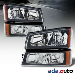 2003 2006 Chevy Silverado 1500 2500 3500 Black Signal Bumper Headlights Pair