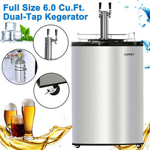 6 Cu ft Full Size Commercial Brew Fridge Stainless Steel Dual tap Beer Kegerator