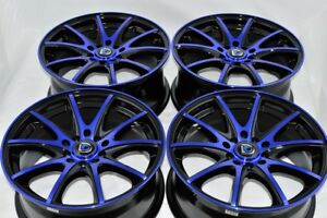 4 New Ddr St15 16x7 5x100 114 3 38mm Black Blue Wheels Rims