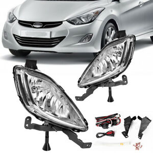 For 2011 2013 Hyundai Elantra Clear Front Bumper Fog Lights Lamps wiring switch